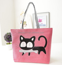 Cute Cat Printing CanvasTotes Hand Bag For Female