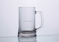 HEAVY TANK GLASS BEER MUG WITH LARGE HANDLE