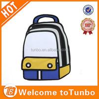 2015 new arrival fashion cute 2D school bag unisex 3D cartoon backpack