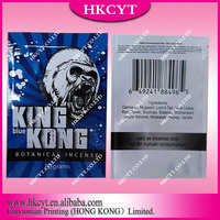 King kong 3g 10g bags with aluminum foil inside for spice//herbal incense bag with zipper/Custom printed plastic maylar foil bag