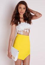 SP60005 Mini Skirt Asymmetric Wrap Mini Skirt Yellow Girl Skrit