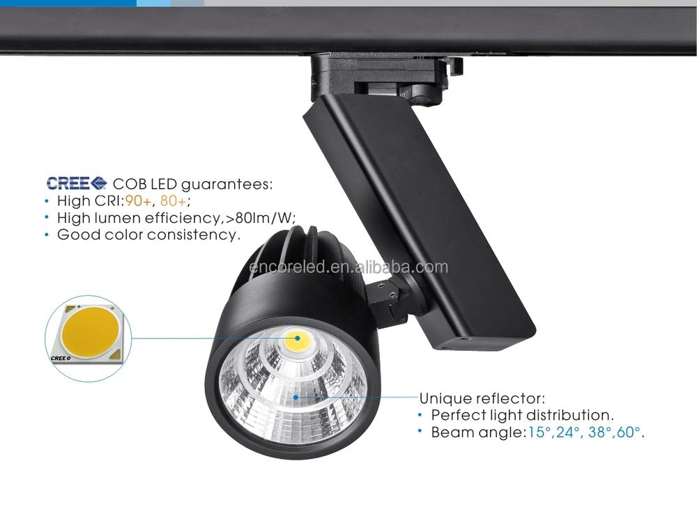 LED Track Bulbs 230V In Triac Dimming System 30W COB LED Track Spot Light Vi