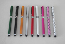 Promotional 2 in 1 stylus pen with rubber tip for Iphone Ipad with logo printing