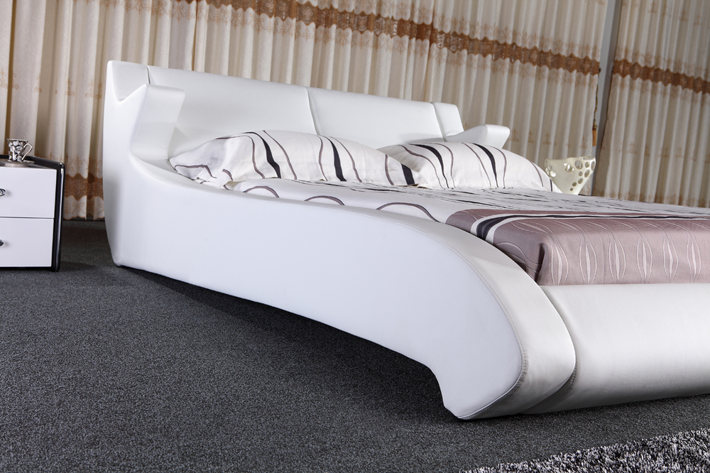Latest Design Modern Wave Shape Black King Size Leather Bed 1025 ...