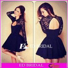 CE1438 Wholesale Long Sleeve Sexy Halter Stitching Lace Hoecoming Dress Short Cocktail Dress