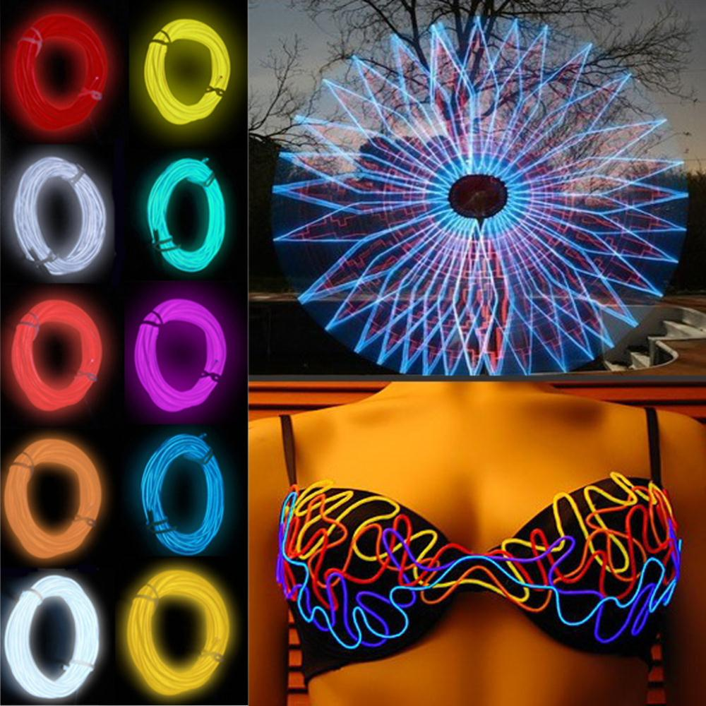 1pcs 2m Wire Rope Neon Light Glow With Controller For Party Dance Car Decor Flexible EL