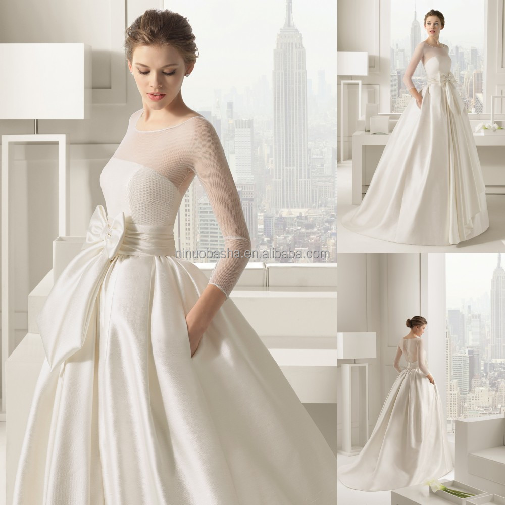 2015 chic ivory ball gown wedding dress long sleeve sheer covered 2015 chic ivory ball gown wedding dress long sleeve sheer covered button back bow sash satin bridal gown with pockets nb1029 junglespirit Gallery