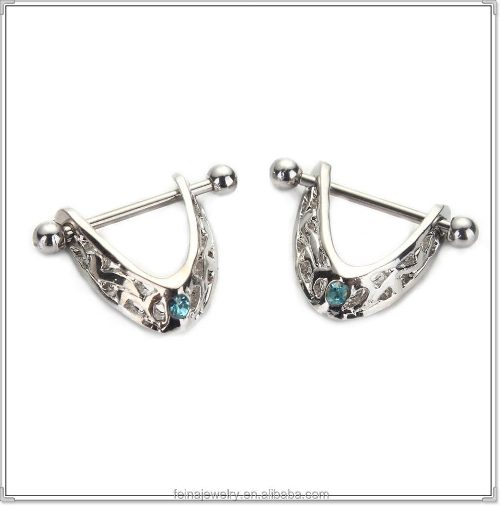Fancy trangle chain nipple rings nipple stretching jewelry for Pierced nipple stretching jewelry