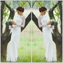 Famous Designer Brand Name Full Length Scoop Neck Backless White Mermaid Wedding Dress Lace Long Sleeve (ZX1170)