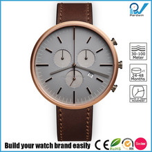 PVD rosegold case genuine leather strap 5ATM water resistant hardened mineral glass custom brand watch