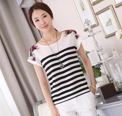 New style summer fashion loose blouse cotton short sleeve office lady elegant t shirt