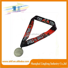 factory supply customized printed heated transfer medal lanyard
