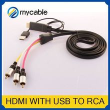 HDMI to 5 RCA RGB Component Cable adapter female usb rca HDTV Cord Audio AV Video Converter