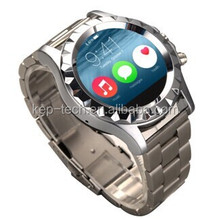 "New 1.22"" Metal & Leather 240X240 Pixel High Sensitive Capacitive Round Touch Screen Bluetooth 3.0 Smart Watch"
