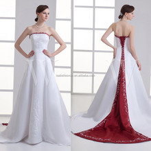 Wholesale white factory driect wedding gown red and white wedding dresses