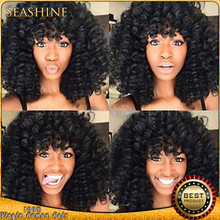 Top Quality Virgin Brazilian Front Lace Wigs / Short Glueless Full Lace Kinky Curly Human Hair Wigs for Black Women