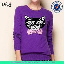 custom wholesale sweaters/sweater with cat pattern/pullover women knitted sweater