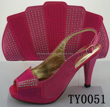OEM new product lady leather high grade party pretty women's italian shoe and bag matching sets