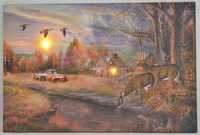 autumn scenery led wall decor deer printed canvas painting