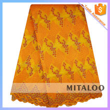 Mitaloo Wholesale Charming Eyelet Organza Lace Polyester Fabric With Sequins MOG0195