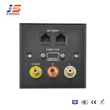 JS-WP103 With RJ45+VGA+Audio,Audio Aluminum Wall cable power socket