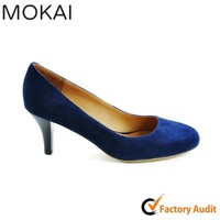 MK035-1 BLUE famous brand suede leather round toe ladies low heel shoes