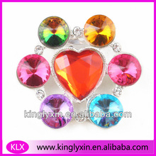 38mm Colorful Rhinestone brooches ,Crystal rhinestone heart-shape Brooch pin For Invitation Box/Costume/Garment accessory