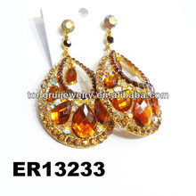traditional big teardrop pave crystal stone dangle earrings