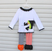 Cute baby little girl witch halloween costumes outfits branded kids clothes sets top and pants ruffle clothing suit