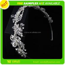 Wholesale fashion bridal hair accessories crystal flower silver fashion headbands