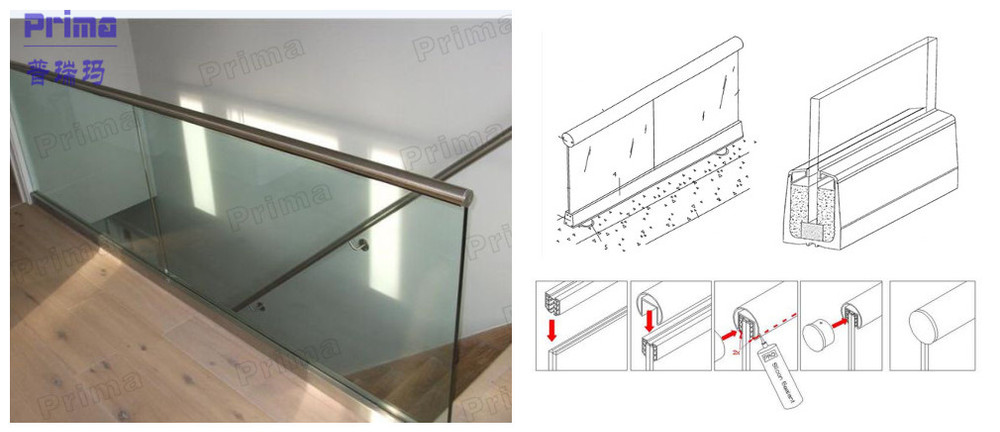 Easy to install glass handrail aluminium channel railing ...