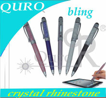 customized colorful ball ballpoint bling crystal rhinestone touch screen stylus pen for smart i pad phone tablet pc