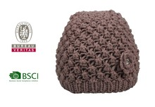 Promotional custom design winter blue knitted hat