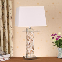 Best Selling UL CE ROHS SAA High Value Modern Crystal Shell Table Lamp With Square TC Fabric Lamp Shade