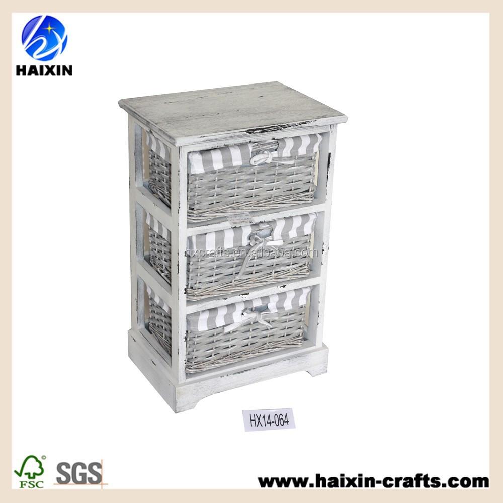 Paniers en osier blanc armoire de rangement coffret en - Meuble de rangement avec panier en osier ...