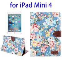 Factory Price Flower Pattern Leather Wallet Case for iPad Mini 4 Cover with Sleep / Wake-up Function