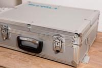 Silver Aluminum Camera Hard Case with Foam Padding & Lock+Keys