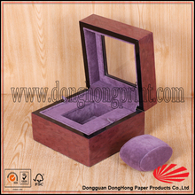 Luxury watch box lacquer/luxury watch box wooden/Hinged watch box with window and pillow