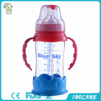 Wide Neck Heat Detection Automatic Glass Baby Feeding Bottle with custom silicone cover