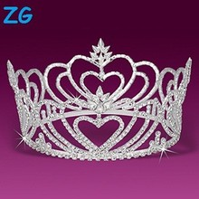 High Quality Heart Design Rhinestone Tiara Wedding, Beauty Pageant Crown, Bridal Headpieces