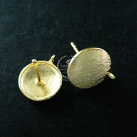 10mm round base gold plated 925 solid sterling silver earrings stud DIY jewelry supplies 1705033