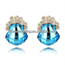 Platinum Plated Big Bule Rhinestone Stud Earrings Jewelry zywg_2013012625