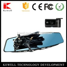 New arrival KWA10 car rearview mirror DVR 4.3 inch screen HD 1080P car dvr rearview mirror with dual lens