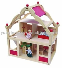 wooden big doll play house for children