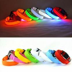 Wholesale LED Light-up Dog Leash Safety Pets Cat & Dog Collar ,LED Nylon Pet Dog Collar