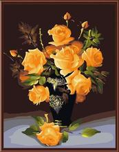 diy acrylic oil painting on canvas yellow rose flower with vase photo still life painting GX6392