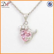 senhoras moda rosa de cristal de zircônia pingente de coração colar de cobre