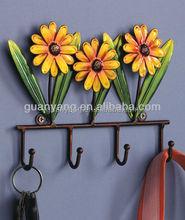 Hermoso decorativo del hogar de la pared de metal flor garabato ( gancho )