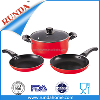 4pcs aluminium sauce pot and frypan cookware set with inner non-stick coating