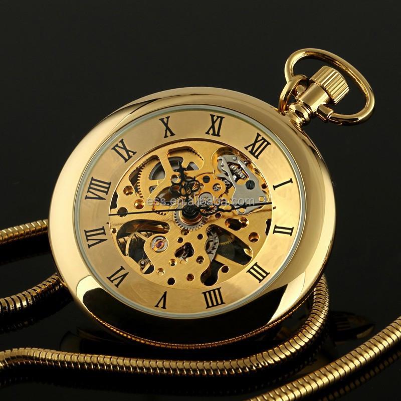 wholesale wp143 golden antique mechanical automatic pocket